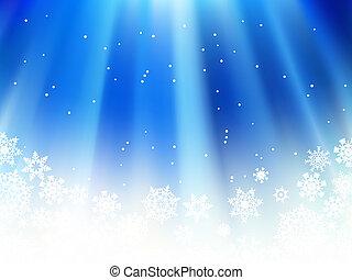 neve, natale, flakes., blu, +, eps8