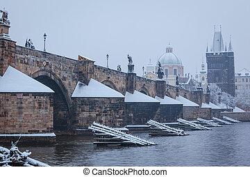 neve, ponte charles, em, praga