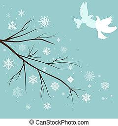 neve, ramos, com, pássaros