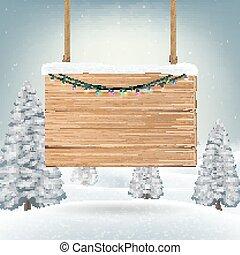 neve, sinal, madeira, tábua, penduradas, natal