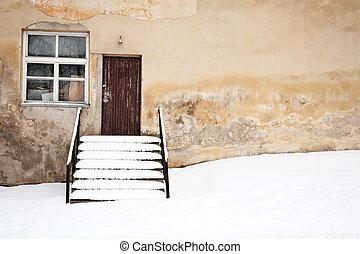 neve, vecchio, parete