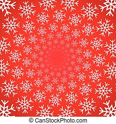 neve, vortice, su, sfondo rosso