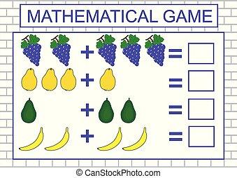 nevelési, addition., ábra, játék, vektor, tanulás, számolás, kids.