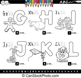 nevelési, gyerekek, abc, karikatúra, színezés, oldal