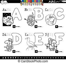 nevelési, színezés, irodalomtudomány, abc, könyv, karikatúra