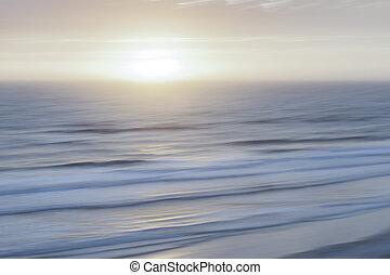 nevelig, op, atlantische , zonopkomst