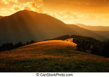 nevelig, op, stralen, heuvels, zon