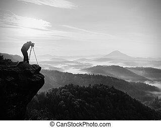 nevelig, silhouette, natuur, fotograaf, wolken, action., boven, man