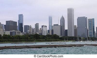nevelig, skyline, aanzicht, dag, chicago