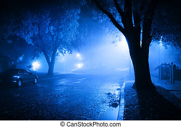 nevelig, straat, op de avond