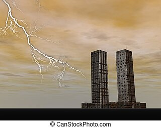 Twin towers building next to lightning by night for remembrance
