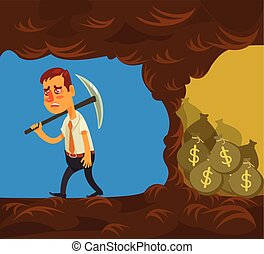 Never give up. Vector flat cartoon illustration