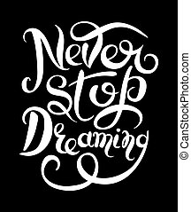 Never stop dreaming Inspirational white text motivational...