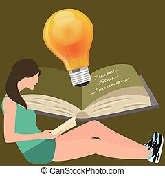 never stop learning, girl reads book, light bulb shines...