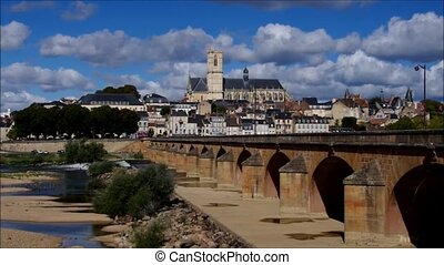 Nevers in Burgundy, cathedral and river Loire, France