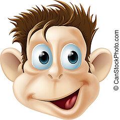 nevető, boldog, majom, arc, karikatúra
