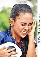 nevető, fiatal, női tízenéves kor, futball játékos