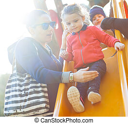 neveu, jeu, park., tante, diapo