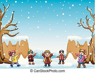 nevicare, capretto, canto, collina, felice