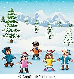 nevicare, gioco, collina, capretto, felice