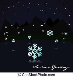 nevicare, lago, notte