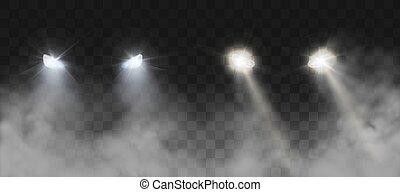 nevoeiro, car, noturna, faróis, brilhar, estrada