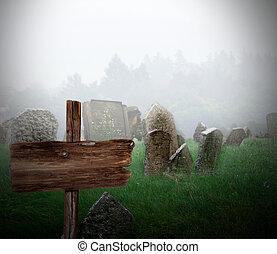 nevoeiro, cemitério