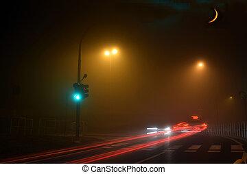 nevoeiro, e, lua, ruas, de, brescia, -, itália