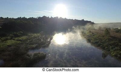 nevoeiro, em, amanhecer