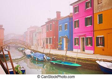 nevoeiro, em, burano, veneza