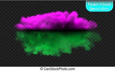 nevoeiro, ou, fumaça, é, isolado, por, um, transparente, especiais, effect., ultravioleta, e, verde, vetorial, cobertura nuvem, nevoeiro, nevoeiro, experiência., ilustração