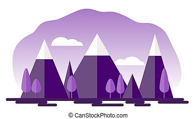 nevoso, applique., paesaggio, albero, stile, vettore, eps, naturale, 10, montagne, cielo, carta