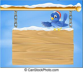 nevoso, cappello, uccello azzurro, santa, segno