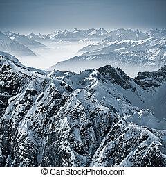 nevoso, montañas, en, el, alpes suizos