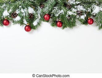 nevoso, natale, rosso, ornamenti, appendere, in, albero abete, rami
