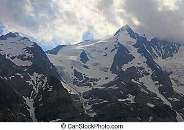 nevoso, picchi, di, alpi, montagne