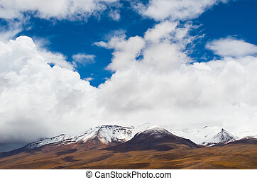 nevoso, picchi, di, montagne