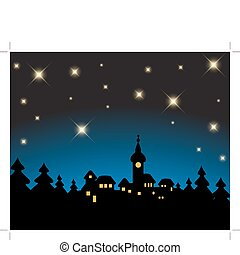 nevoso, -, tarjeta, noche, navidad, paisaje