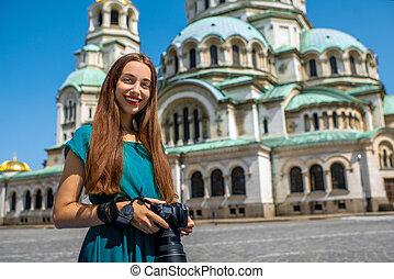 nevsky, cathédrale, rue., touriste, alexandre