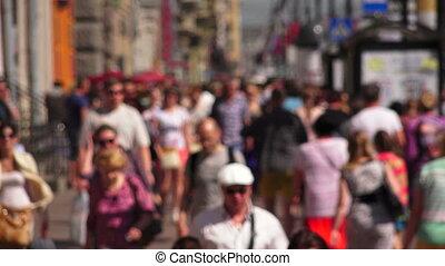 Nevsky prospect. Saint-Petersburg. People go along the...