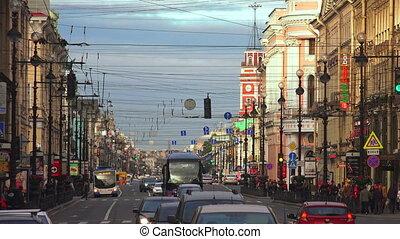 Nevsky prospect. Saint-Petersburg. Shot in 4K (ultra-high...