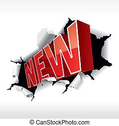 """""""new"""", 碑文, 壊れ目, 白, バックグラウンド。, ベクトル, illustration."""