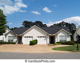 New 1 Story Sm White Vinyl Duplex - New low income small one...