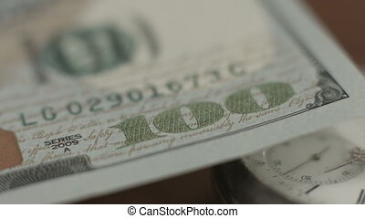 """New 100 dollar bill U.S. paper money closeup, counterfeit..."