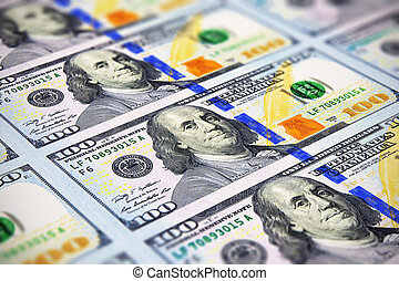 New 100 US dollar banknotes - Creative abstract business,...
