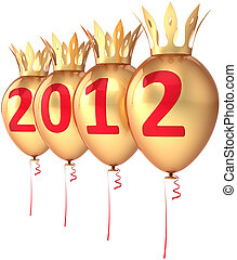 New 2012 Year golden balloons royal