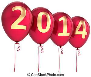 Happy new year 2014 balloons party decoration. celebration ...
