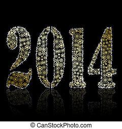 New 2014 year symbol on black backround. Christmas greeting...