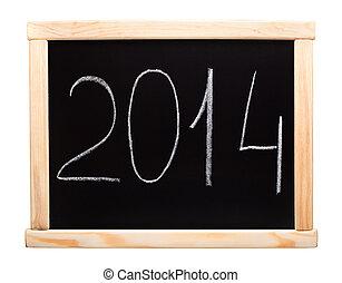 New 2014 year written on blackboard