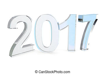 New 2017 year glass isolated on white background. 3D rendering.